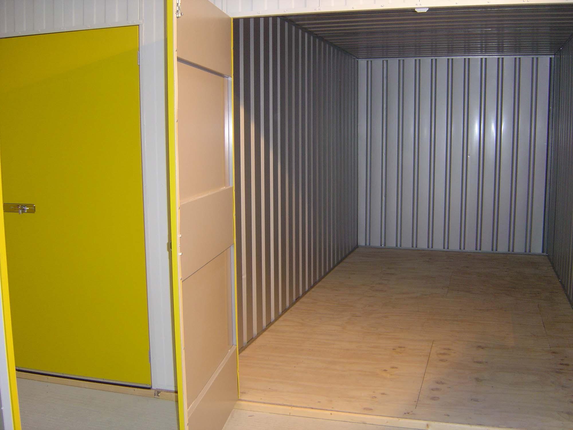 Yellow open door storage